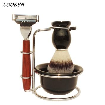 4pc/set Wood Handle Synthetic Shaving Brush Safety Razor Metal Beard Shave Stand with Acrylic Bowl