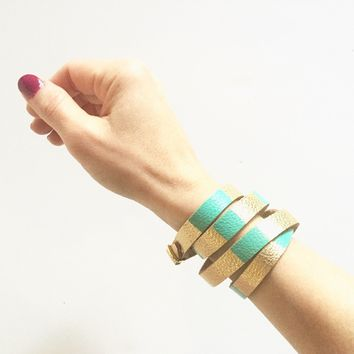 Gold Leather Wrap Bracelet with Color Block Pattern - Stacked Leather Cuff