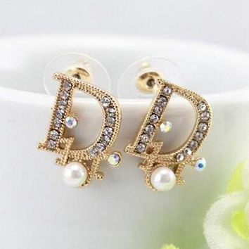 Dior Fashion Women Letter Pearl Diamond Stud Earring Jewelry I12 85e790dd68
