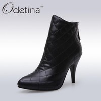 Odetina 2016 New Handmade Large Size Womens Fashion Plaid Thin Heel Ankle Boots Zip Up Pointed Toe Booties with Zipper In Back