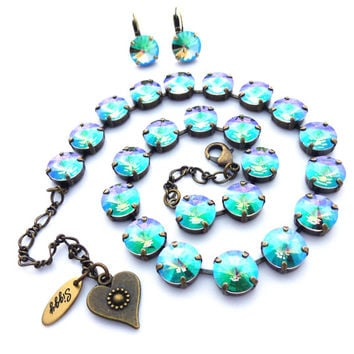 12mm Swarovski crystal Paradise Shine necklace, blue/green metallic, Amazing on antique brass or **SELECT-A-FINISH** Siggy Jewelry