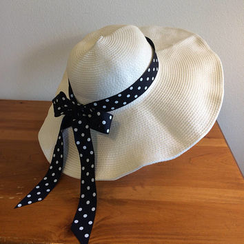 "White Floppy Straw Sun Summer Wide Brim Foldable Hat with Navy Polka Dot Handmade Ribbon Bow 21"" - 23"" Head"