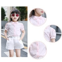 Girls Bow Tie O-neck Short Sleeve Blouses