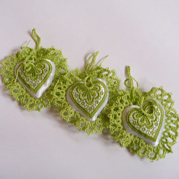 Three little heart lime green - handmade decorations wedding - wedding gift - Pincushion - embroidery and lace tatting- bridesmaid