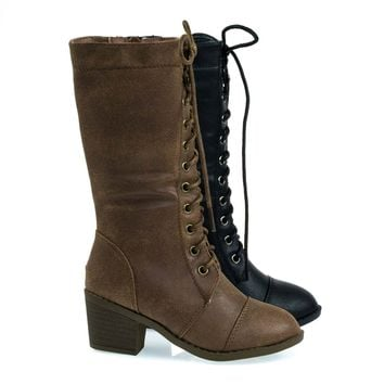 Eury6K Tan By Link, Kid's Military Combat Boots W Chunky Block Heel, Lace UP & Zipper Closure