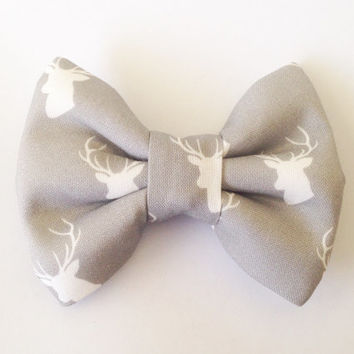 Grey Stag Deer Bow (Handmade Bow / Bow Tie / or Headband)