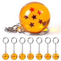 Anime Cartoon Dragon Ball Z Keychain DBZ Cosplay 1-7 Stars Figure Toys Keyring Big 3cm Crystal Ball Pendant Keychain