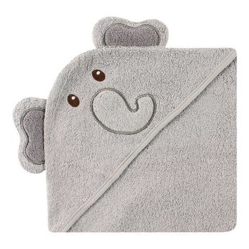Gray Elephant Face Hooded Towel