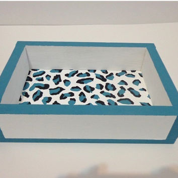 Turquoise teal leopard animal print wooden vanity tray ottoman tray blue and white wood tray