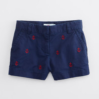 Girls Anchor Embroidered Boulevard Shorts