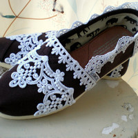 Custom Wedding TOMS -- The Fleur De Lis design -- Chocolate brown