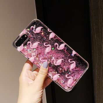 Case For iPhone 8 8Plus 7 7Plus Glitter Quicksand Case Cover For iPhone X 10 Pink Flamingo Hard Plastic ipone 7 Capinha Capa