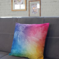 Rainbow Water Color Square Pillow