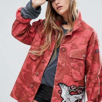 Reclaimed Vintage Military Jacket With Statement Patches at asos.com