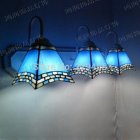 3 Lights Tiffany Wall Lamp Mediterranean Sea Style Mermaid Wall Sconce Mirror E27 110-240V
