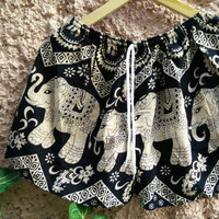 Unisex Shorts Boho Elephants Hobo print Clothing Bohemian Ikat Fashion Chic Unique Beachwear Festival Clothes Summer for Women Men in Black