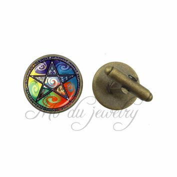 Glass Dome Cuff-Link Colorful Pentagram Cufflinks Charms Occult Cuff Button Pentacle Wiccan Jewelry Accessories
