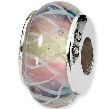 Reflection Beads Silver Soft Rainbow Ribbons Blown Glass Bead