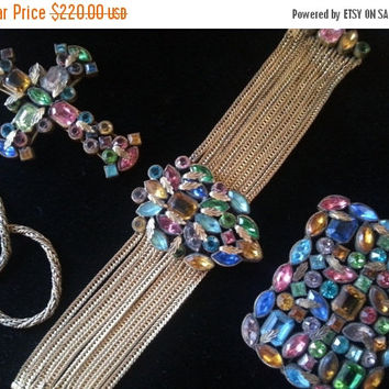 Now On Sale Art Deco Parure 1920's 1930's Rhinestone Necklace Bracelet Earring Set High End Art Nouveau Victorian Jewelry