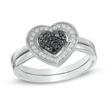 1/4 CT. T.W. Enhanced Black and White Diamond Heart Cluster Bridal Set in Sterling Silver