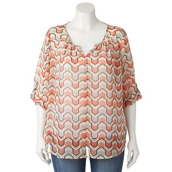 IZ Byer California Graphic Print Peasant Top - Juniors'