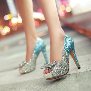 Glitter Women Pumps Platform Peep Toes High Heels Spike Bridal Shoes Woman