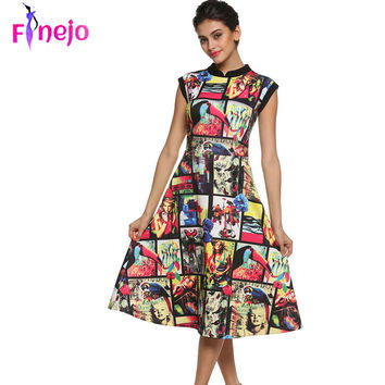 FINEJO Summer Dress 3D Print Floral Sleeveless Vestidos Women Dresses Vintage Slim A-Line Long Flare Clothes Plus Size S-XXXL