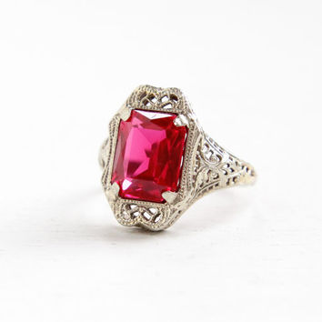 Antique 14k White Gold Art Deco Filigree Synthetic Ruby Ring- Size 6 1/4 Vintage 1920s 1930s Pink Stone Fine Jewelry