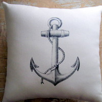Nautical Pillow, Anchor, Beach Decor, Cottage Decor | Luulla