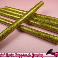 5 Gold Glitter Mini Hot GLUE STICKS / Deco Sauce / Fake Icing / Nail Art Stick / Faux Wax Seals
