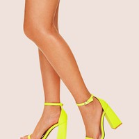 Neon Yellow Ankle Strap Chunky Heels