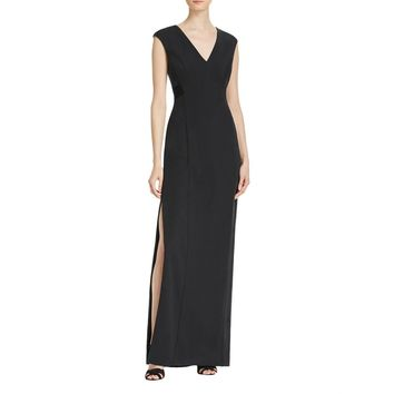 Aidan by Aidan Mattox Womens Mesh V-Neck Evening Dress