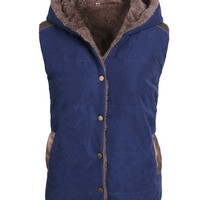 Sleeveless Hoodie Button Coat Jacket