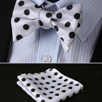 White Black Polka Dot Self Tie Bow Tie