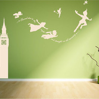 Peter Pan Big Ben scene, second star to the right wall decal mural art sticker.