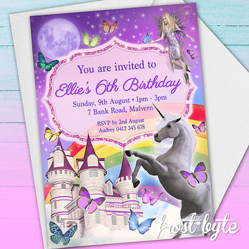 Fairy Tale Unicorn Birthday Invitation Design - castle fairy butterfly rainbow - customised download file to print yourself