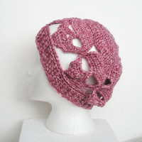 Pink Skulls Slouch Hat, Slouchy Crochet Beanie Hat with Skull Pattern in Rosy Pink, ready to ship.