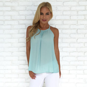 Ruffle My Buttons Tank in Mint