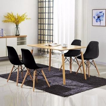 Set of 4 Mid Century Modern Style Dining Chair Black