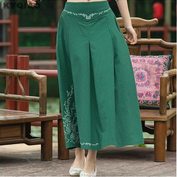 KYQIAO Vintage 70s design long dark green blue red a-line midi skirt women Mexico style ethnic long solid skirts longuette