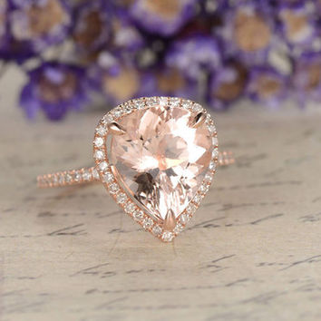 Morganite engagement ring with diamond ,Solid 14k rose gold wedding ring,10x12mm pear cut custom made fine jewelry,pave set,Stackable ring
