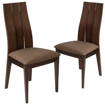 2 Pk. Hadley Wood Dining Chair with Wide Slat Back and Fabric Seat