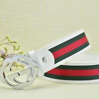 Cheap GUCCI Woman Men Fashion Smooth Buckle Belt Leather Belt for sale q_2291738334_051