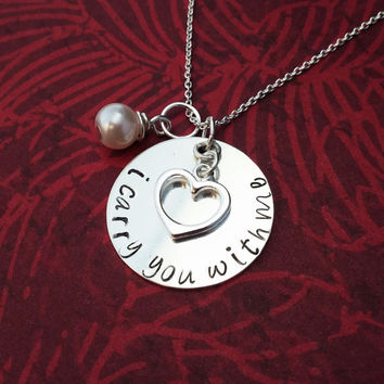 Sterling Silver Carry You With Me necklace - sympathy gift for loss of a loved one - memory necklace