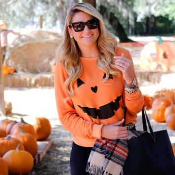 2017 Hot Women Halloween Pumpkin Print Long Sleeve Sweatshirt Pullover Tops Blouse Holiday Casual Outwear Sweatshirts Plus Size