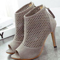 Grey High Heel Hollow Peep Toe Pumps -SheIn(Sheinside)