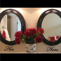 His Hers decal stickers Vinyl Lettering Wall Quotes