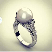 AMAZING 5.70CT WHITE PEARL STUD 925 STERLING SILVER ENGAGEMENT AND WEDDING RING
