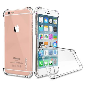 FLOVEME Clear Anti Knock Shock Soft Silicone TPU Case For iPhone 7 6 6s Samsung Galaxy S7 S7 Edge Crystal Transparent Gel Skin