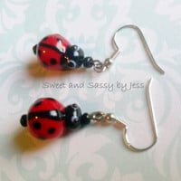 Lady bug earrings, lampwork bead earrings, fun earrings, unique earrings, dangle earrings, Lamp work beads, one of a kind, bug earrings